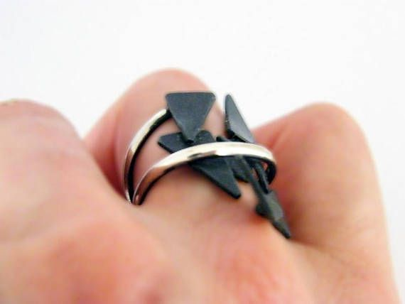 Shattered. sculptural silver ring artsy silver ring large