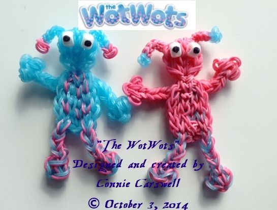 """Dotty and Spotty "" ~ Rainbow Loom ~ Character Collection ~ THE WOTWOTS SERIES ~  I saw a post on my FB news feed yesterday and immediately knew that I just HAD to try to make this cute pair of aliens from a children's television program in the UK! Designed and created by Connie Carswell (Orca Loopy) Copyright© Connie Carswell October 3, 2014. All rights reserved."