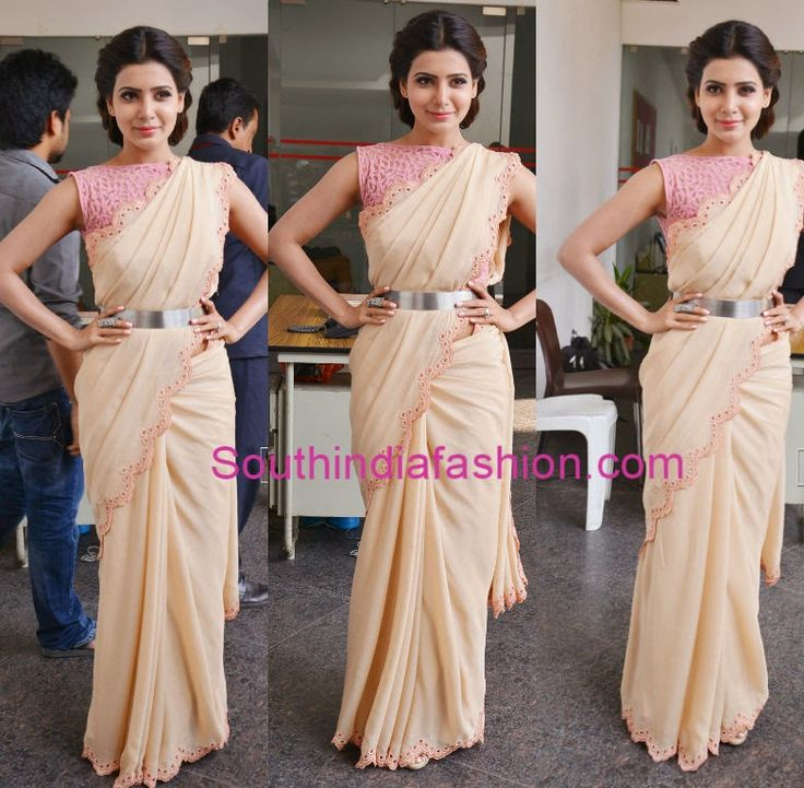 Lovely nude color cut work saree with scalloped borders, paired up with baby…