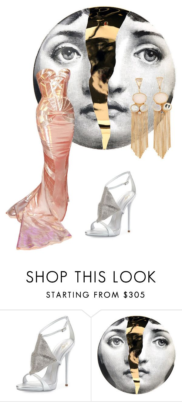 """""""Metro"""" by clararucula ❤ liked on Polyvore featuring Giuseppe Zanotti, Fornasetti, Atelier Mon and Versace"""
