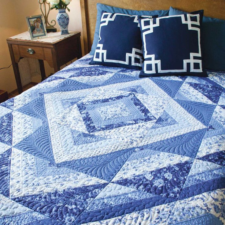 PAINTED PORCELAIN Easy king size quilt pattern Designed and machine quilted by PATTI CAREY Made by SUZANNE EBSWORTHY Clever use of a special striped fabric makes this queen/king size quilt pattern faster and easier to cut out and piece than you might imagine! Painted Porcelain adds a note of tranquility to any guest room or master retreat. Pattern in the January/February 2016 issue of McCall's Quilting