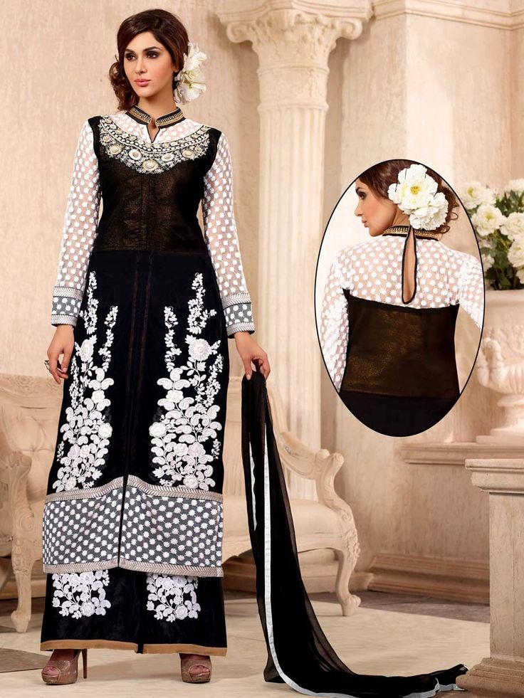 Graceful black color #Georgette kameez having thread embroidery work. Item Code : SLANA1008N http://www.bharatplaza.com/new-arrivals/palazzo-suits.html