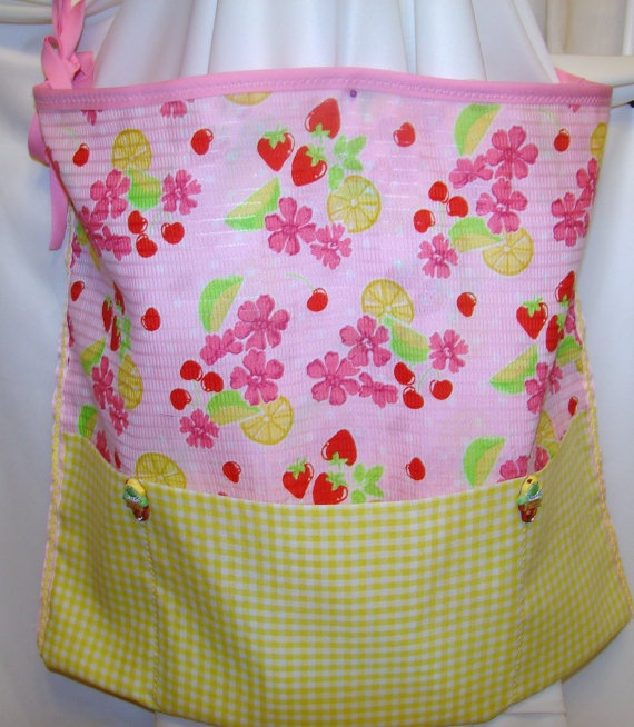 Half Apron Pink Fruits and Yellow Checks by bagsbyhags45 on Etsy, $9.00