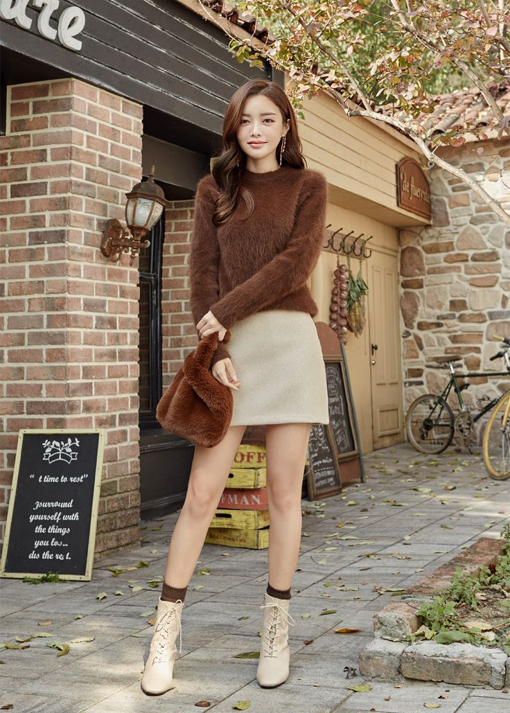 Solid Tone Angora Knit Sweater CHLO.D.MANON | #cute #fur #sweater #cozy #warm #koreanfashion #kstyle #kfashion #dailylook #falltrend