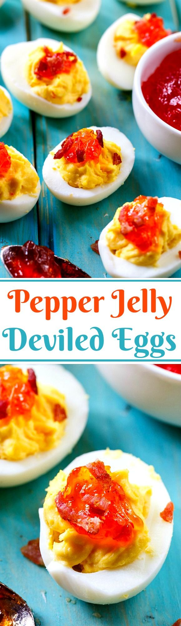Red Pepper Jelly Deviled Eggs with Bacon. You'll love the sweet and spicy flavor!