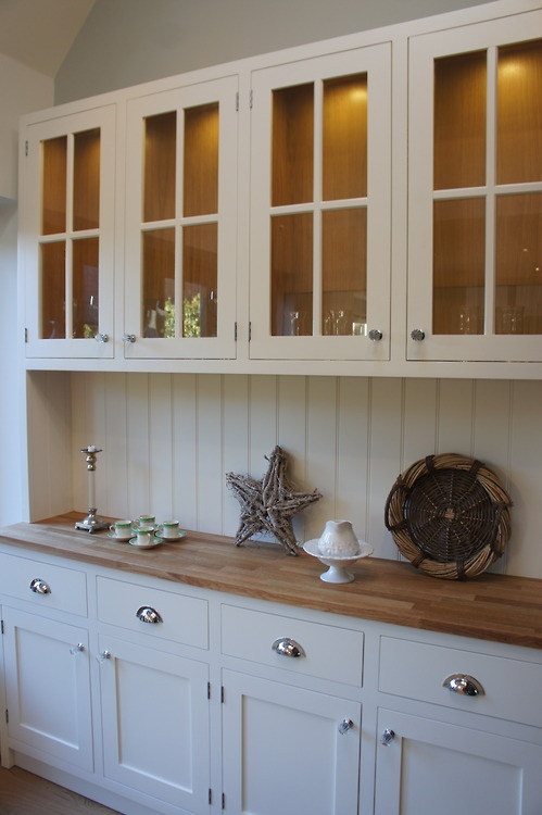 Shaker Style hardwood dresser, hand pained with solid Oak worktop