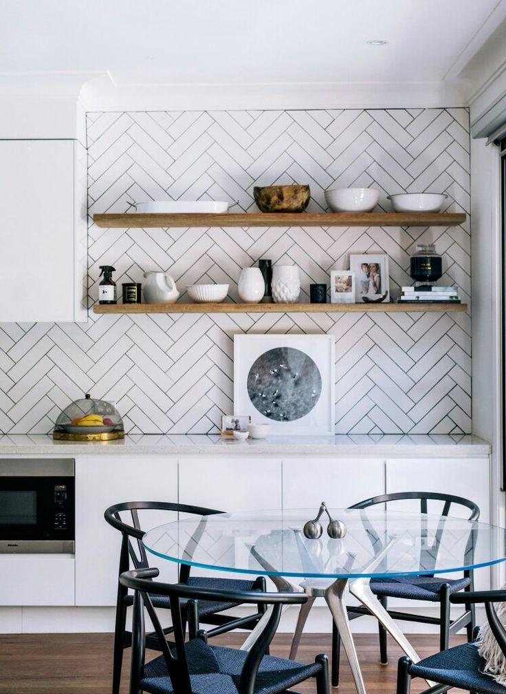 Modern Yet Classic Herringbone Subway Tiles Wooden