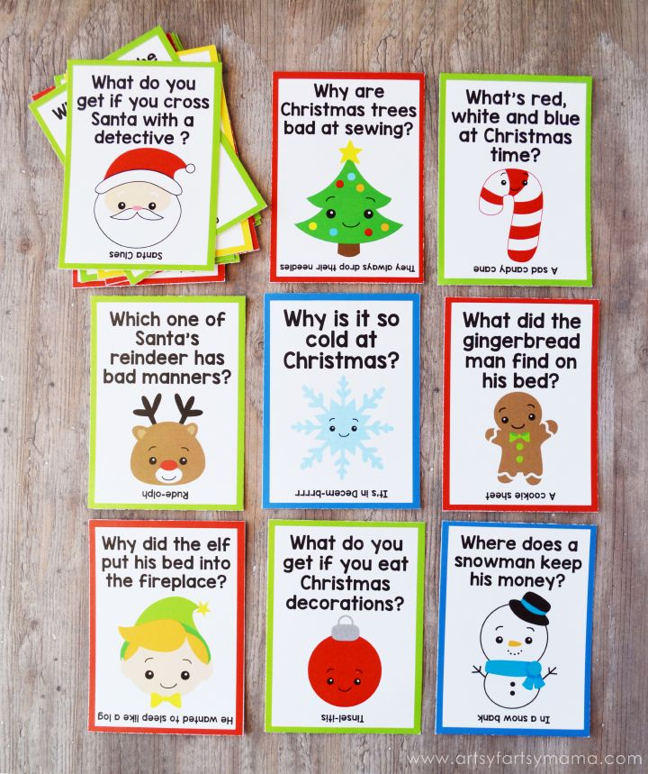 Free Printable Christmas Lunch Box Jokes at artsyfartsymama.com