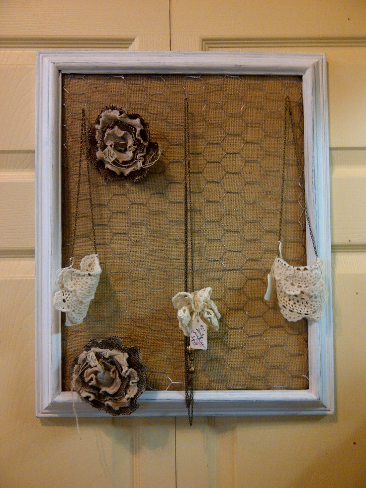 Take an old picture frame, and place some chicken wire behind it. You can use it to hang jewelry on, or use clothespins to pin notes.