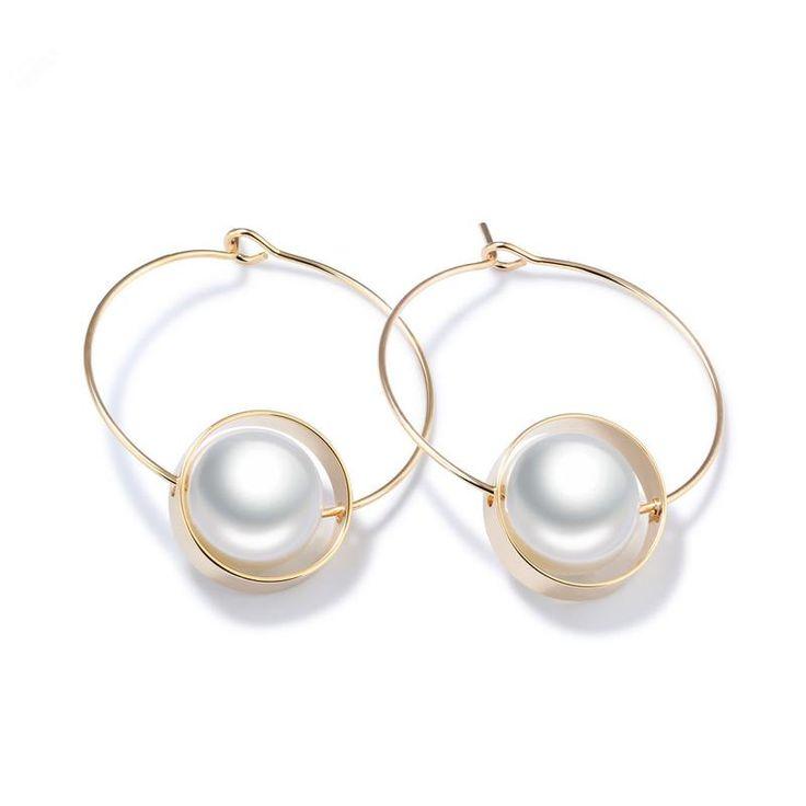 Simple Lovely Copper Circles Design Imitation Pearl Drop Earrings Womens Elegant Golden Color Earrings Girls