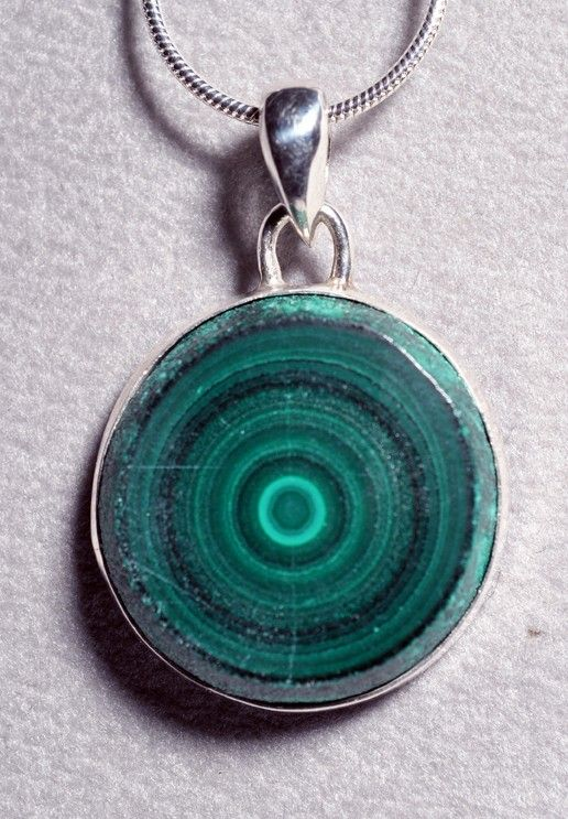 Malachite Stalactite Slice Handcrafted Sterling Silver Pendant