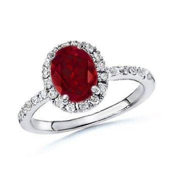 Angara Cathedral Round Garnet and Diamond Halo Ring in Rose Gold LeUi9OAeq