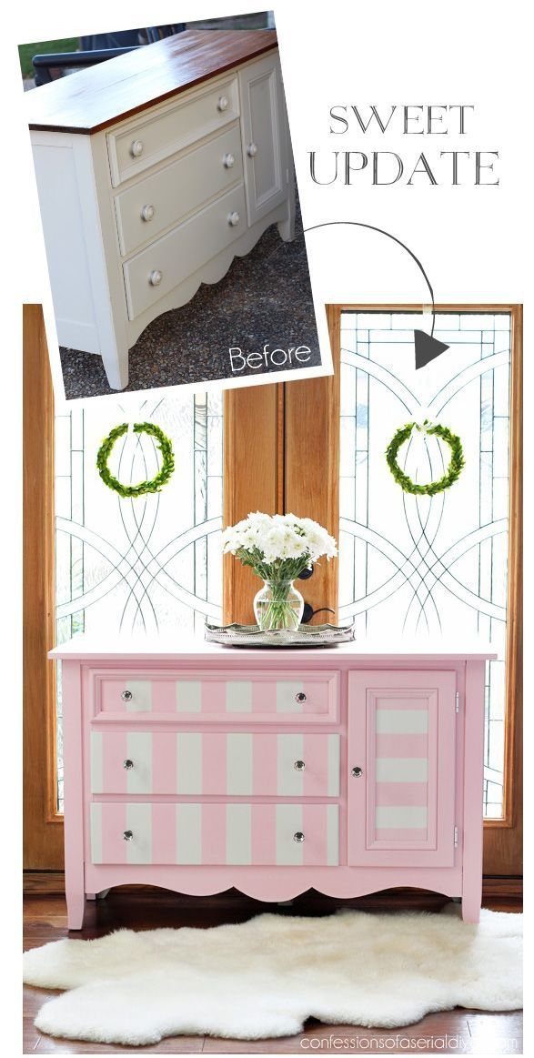 Pink And White Striped Dresser From Confessionsofaserialdiyer Com Striped Dresserfurniture Makeoverwood