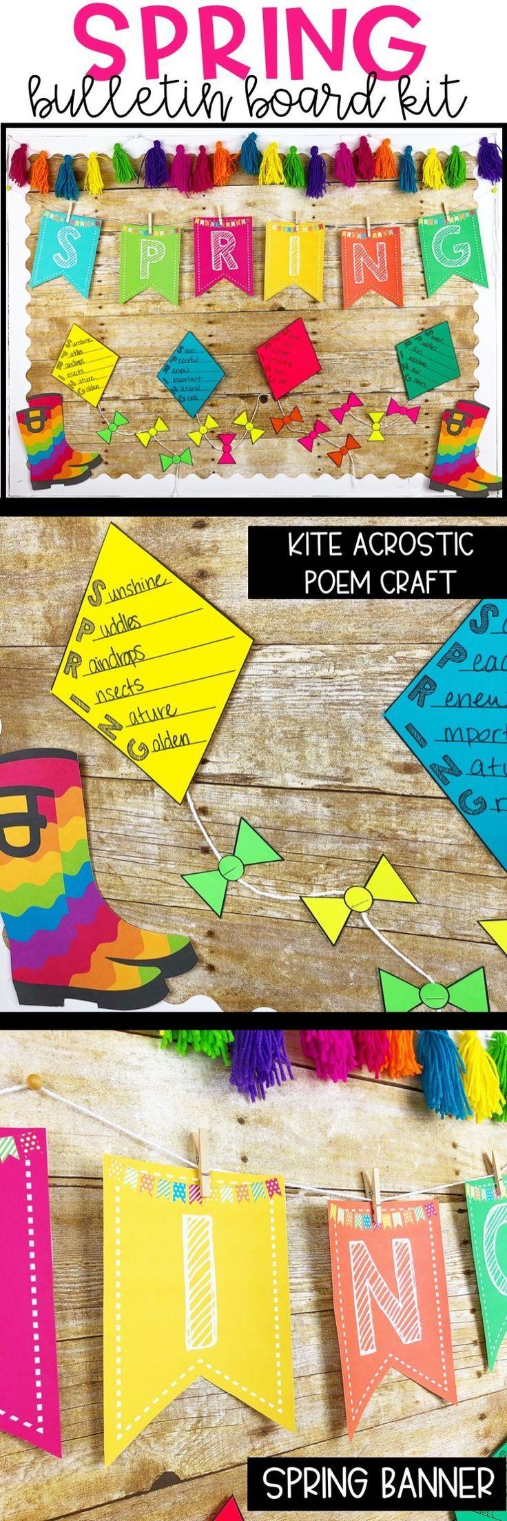 Spring Bulletin Board Kit - Acrostic Poem Kite Craftivity.