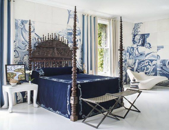antique Portuguese Bilros bed - San Francisco Showcase 2014 - blue and white
