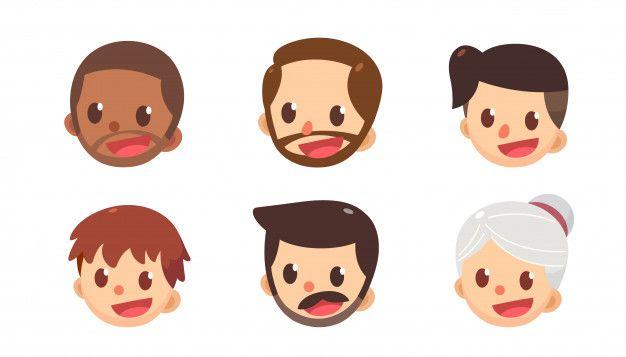fa2acd850 Conjunto de avatar de dibujos animados. hombres y mujeres lindos en  diferentes estilos. caras