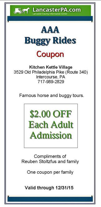 High Quality AAA Buggy Rides Coupon   Intercourse PA | LancasterPA.com