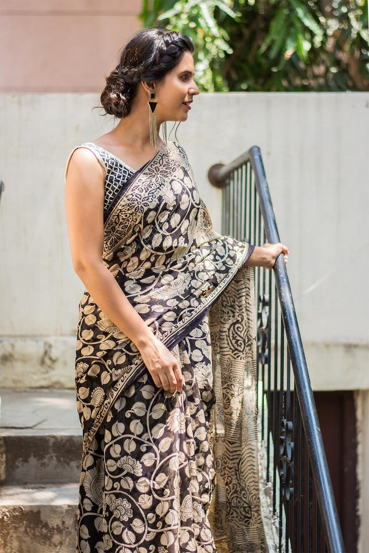 Black and white Kalamkari printed chiffon saree  #saree #blouse #houseofblouse #indian #bollywood #style #black #white #printed #kalamkari #semi #chiffon