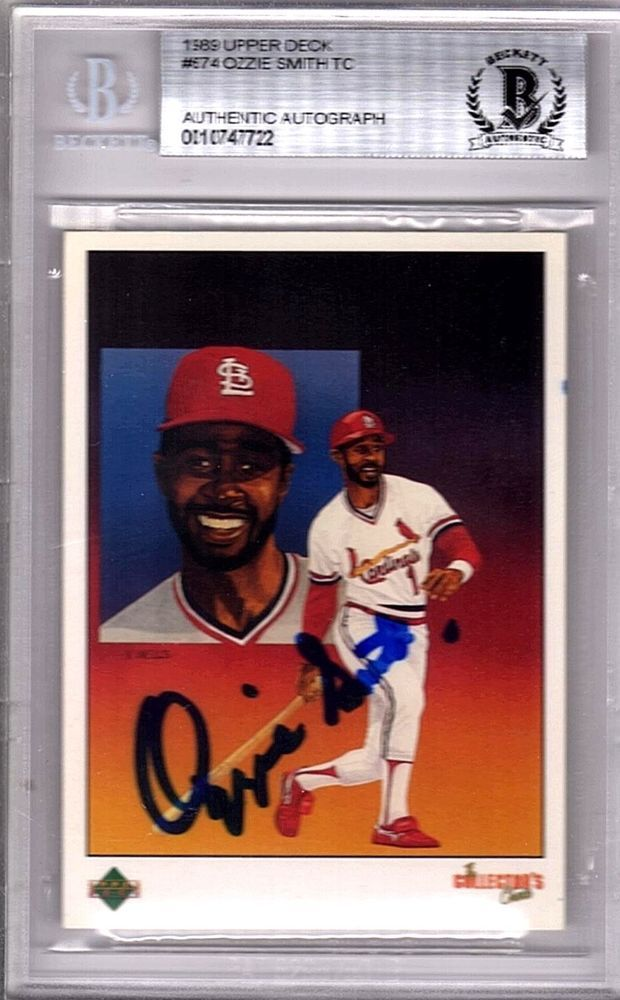 Ozzie Smith Signed 89 Upper Deck Card St Louis Cardinals Hof