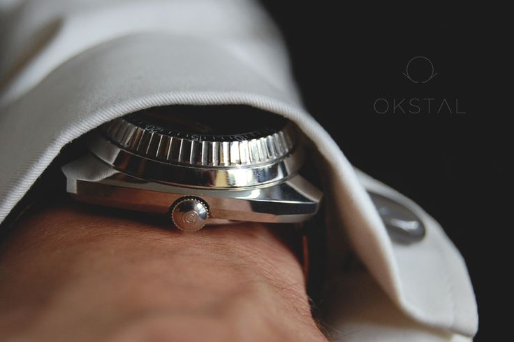 1000 meters Certina diver underneath an OKSTAL shirt equipped with self holding and assymmetrized french style watchcuff