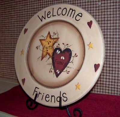 STAR~HEART~WELCOME FRIENDS FAITH FAMILY PLATE & STAND COUNTRY PRIMITIVE DECOR