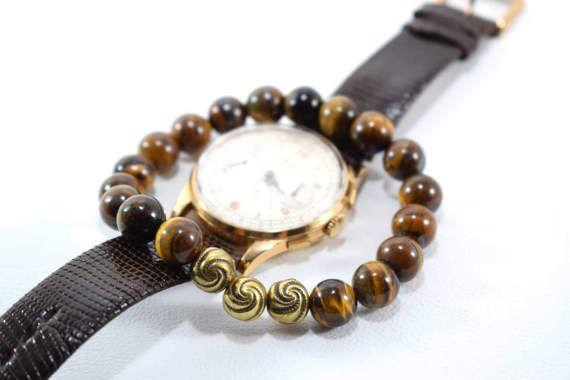 Tiger Eye Bracelet Mens Bracelet Bracelet by AlterDecoCoinsnBeads