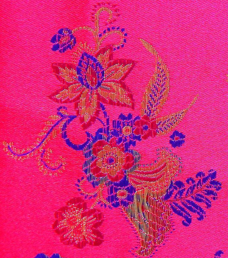 Brocades & Saris Fabric 45''-Tango Red Bouquet