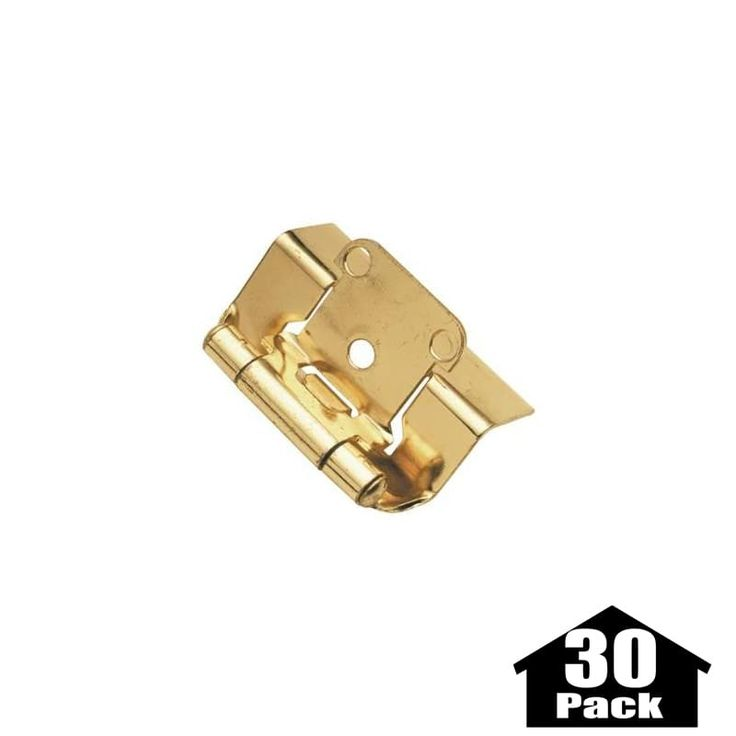 Hickory Hardware P5710F-30PACK Package of 2 Full Wrap Self Closing Hinges - 30 P Polished Brass Cabinet Hinges Overlay Hinges Wrap Hinges