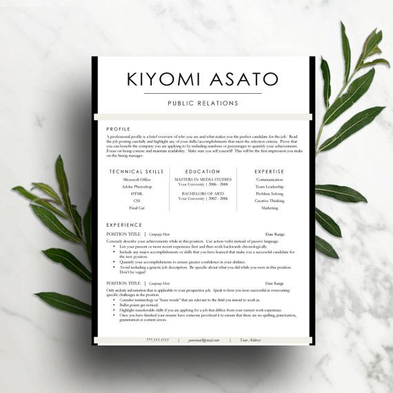 Clean and Customizable 2 page resume template + cover letter + references for $15.00   TheWriteStuffResumes