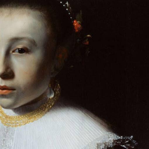 Pieter Dubordieu: Ritratto di giovanetta. Olio su tavola del 1633-35. Rijksmuseum, Amsterdam. Le gorgiere si sono ormai trasformate in larghi colletti piatti, sempre con piccoli bordi al tombolo. La moda degli orecchini a goccia (il più famoso, quello di Vermeer, arriverà circa trent'anni dopo) ormai impera, così come i ritratti su fondo scurissimo e dalle forti ombre sfumate, tipiche dello stile di Rembrandt.