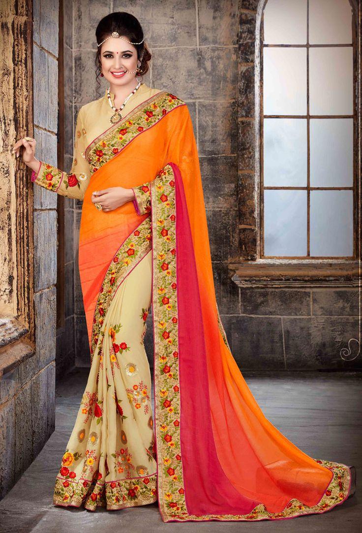 Yellow,Cream #Chiffon #Half N Half #Saree #nikvik  #usa #designer #australia #canada #freeshipping #sari