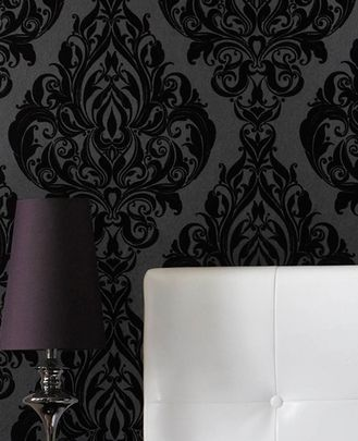 I so want to do a room in this gorgeous black damask wallpaper. Pair it with crisp white moldings/baseboards and it's perfect.