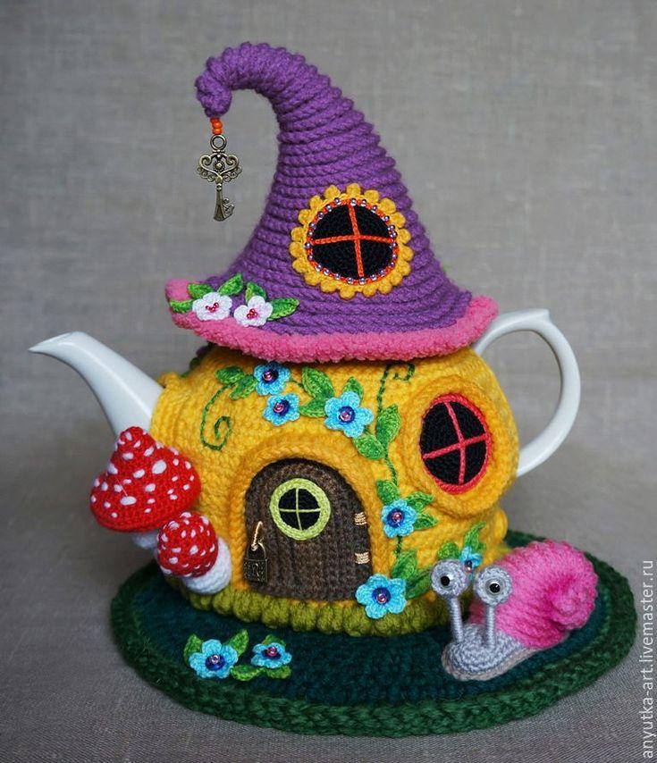 """Купить Грелка на чайник """"Сказочный домик"""" (с чайником) - грелка для чайника, чайник заварочный"""