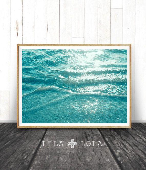 Ocean Water Wall Art Print, Coastal Beach Photography, ModernMinimal, Large Poster, Instant Digital Download, Printable Decor, Aqua Blue – Christine Großmann