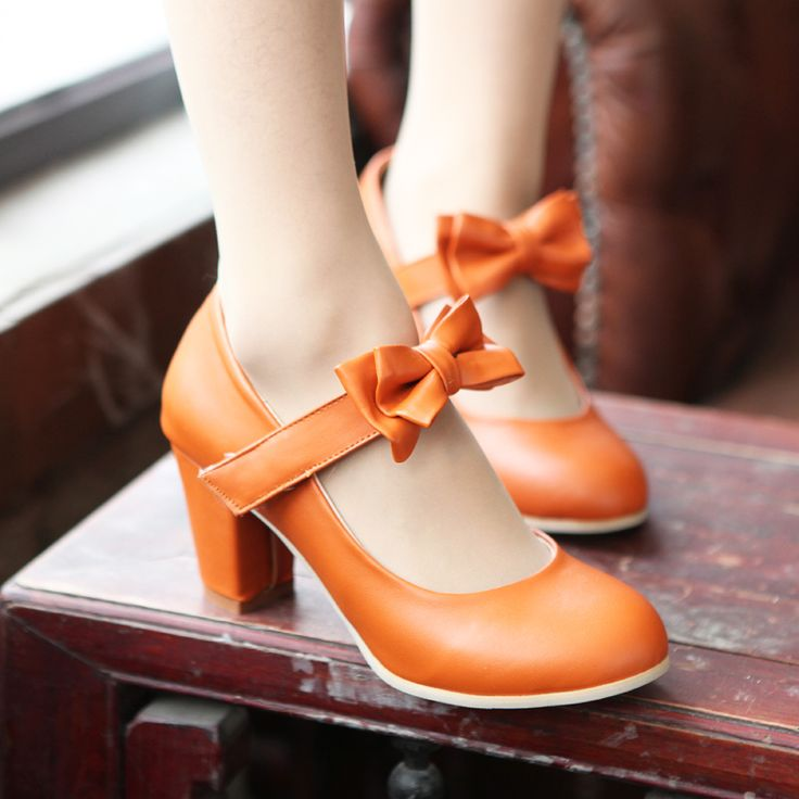 Sweet Color Candy Womens Mary Janes Pumps Heel Lolita Bowknot Shoes Orange