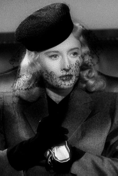 Barbara Stanwyck in Double Indemnity, 1944. Love the detail on the veil. From allaboutbetty.tumbir.com