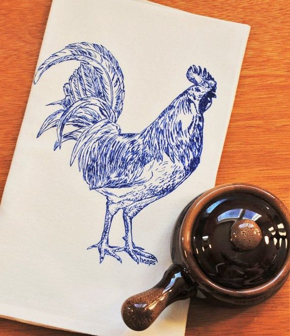 Blue Rooster Kitchen Tea Towel Flour Sack Barnyard Animals