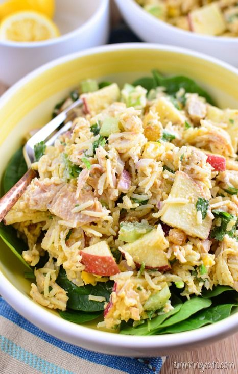 Slimming Eats Curried Chicken Rice Salad Bowl - gluten free, Slimming Eats and Weight Watchers friendly