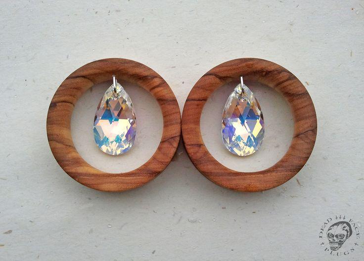 Olive wood + Swarovski crystals tunnels