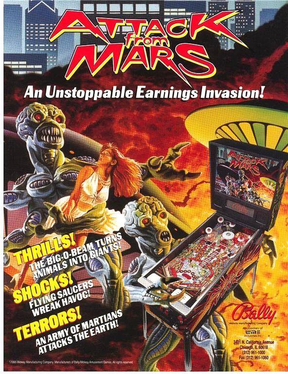 Bally ATTACK FROM MARS 1995 Original NOS Flipper Pinball Machine Promo Flyer #Bally