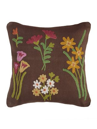Brown-Multicolored Crewel Embroidered Cotton and Wool Cushion Cover (16in x 16in)
