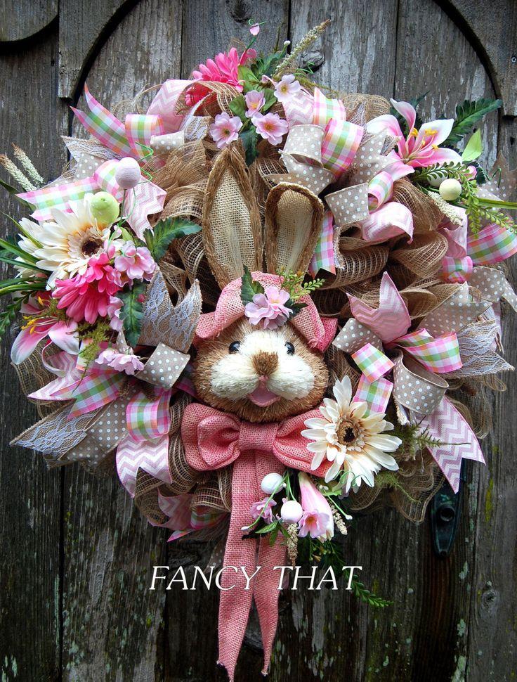 Easter Bunny Wreath, Easter Wreath, Deco Mesh Easter Wreath, Sisal Bunny, Burlap by FancyThatDecor on Etsy