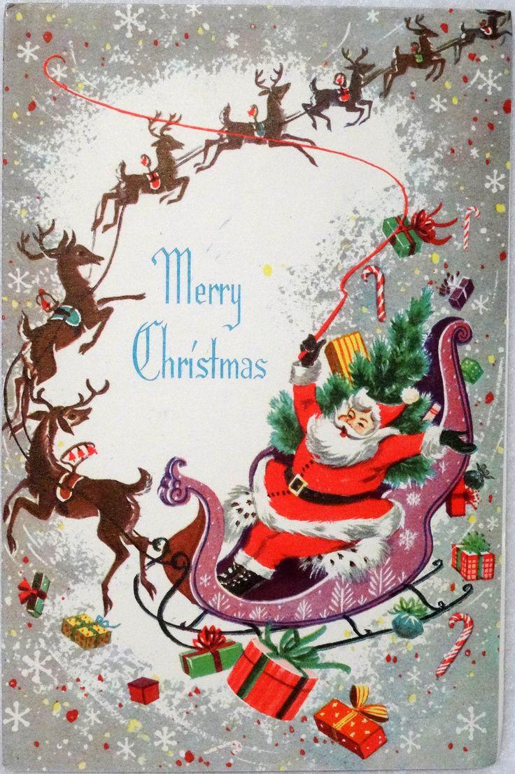 7 50s Mid Century Santa Amp Reindeer Sleigh Vintage Christmas Card Greeting | eBay