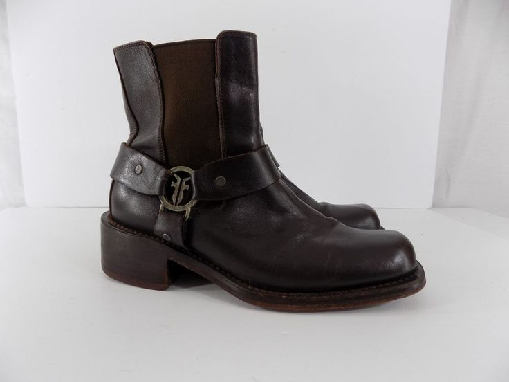 Frye Vintage Brown Leather Harness Boots Ankle Men's Size 8.5 M Square Toe #Frye #Motorcycle