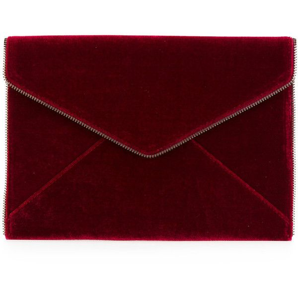 Rebecca Minkoff envelope clutch found on Polyvore featuring bags, handbags, clutches, red, red handbags, velvet clutches, envelope clutch, rebecca minkoff purse and red clutches