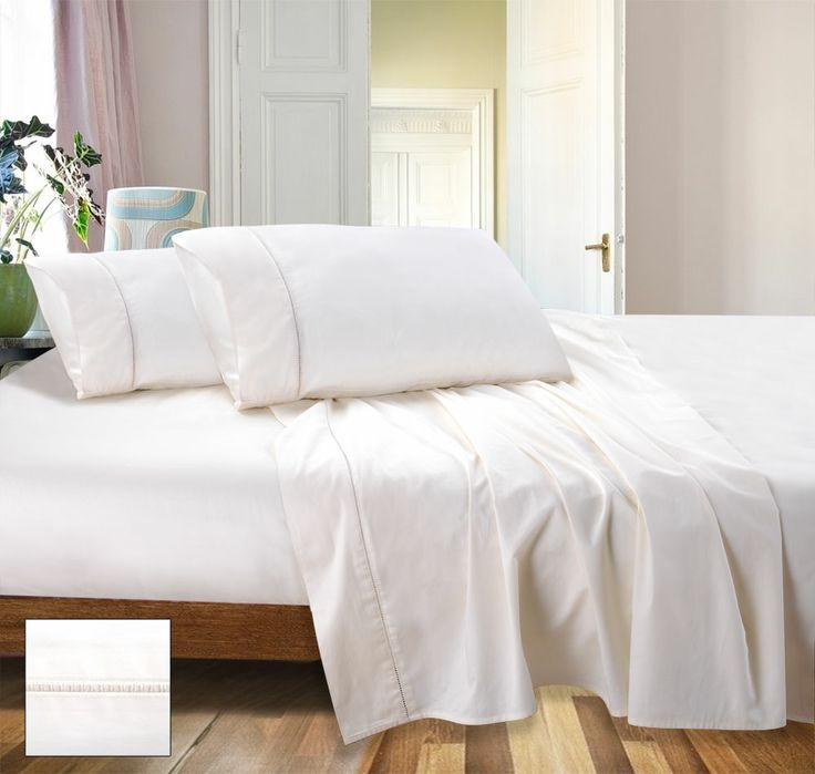 RAMESSES Cotton Sateen Sheet Set, 800 Thread Count 1x Flat Sheet, x Fitted sheet with 50 cm wall & 2 pillow cases