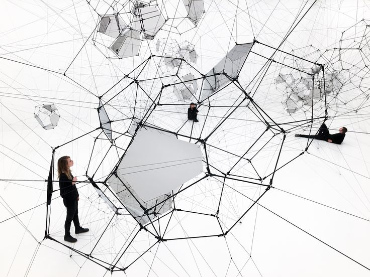 """Tomás Saraceno. """"Stillness in Motion – Cloud Cities"""", 2016. Installation view, San Francisco Museum of Modern Art. Curated by Joseph Becker."""