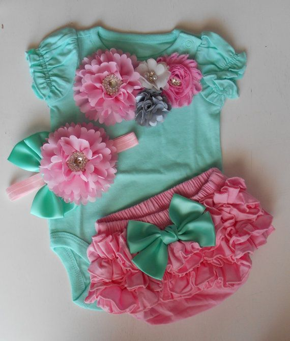 Embellished one piece bodysuit baby girl outfit by LittleQTCouture
