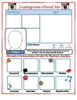 Instagram All About Me- Back to School Activity