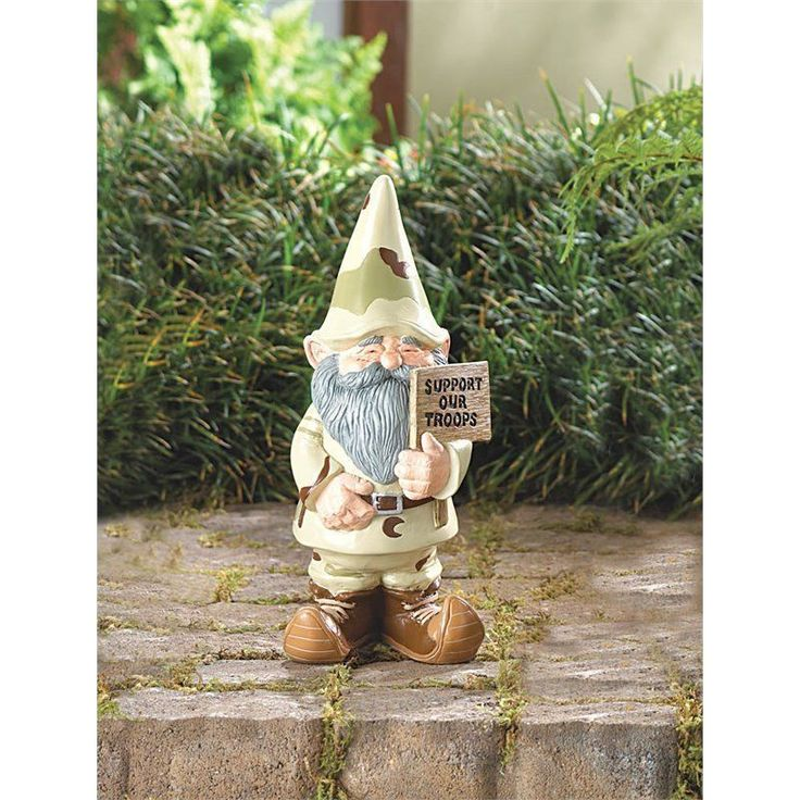 Support Our Troops Garden Gnome Statue Figure Yard Lawn Patio Outdoor Camouflage
